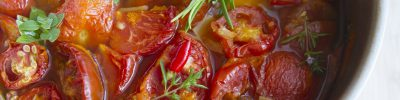 stewed tomatoes, dish, soup
